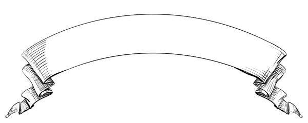 Long curved semicircle arc strip, sketch hand-drawn lines and strokes tape with curly edges. Decorative retro ribbon with empty space for title writing, element on a white background for design