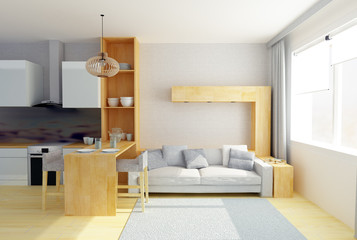 3D illustration of modern studio room in gray colors