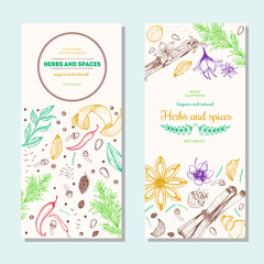 Herbs and spices banners, vintage design template. Vertical flyer set. Vector illustration hand drawn linear art.