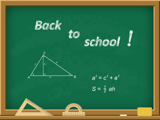 Green school board with an inscription in chalk - Back to school. Triangle, theorem Hippocrates. Vector illustration.