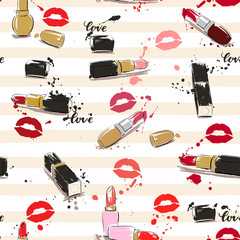 Drawing vector illustration with lipstick, imprint of lips and s