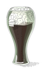 A pint of dark beer foam on a white background , illustration