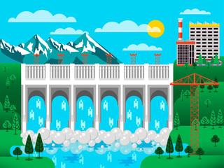 illustration of water dam among green hills