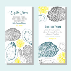 Oyster vertical banner collection. Oyster hand drawn in ink illustration. Vector vintage illustration. Line art graphic. Oysters flyer set for farm or a restaurant.