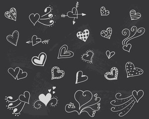 Blackboard with hearts vector. Decoration romantic wallpaper. Fondness symbol background. Love set. Doodle valentine day.