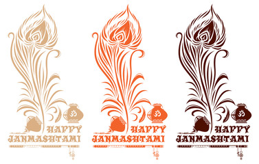 Set of multi-colored logo icons for Krishna birthday. Vector illustration with peacock feather, pots, flute and lettering - Happy Janmasthami