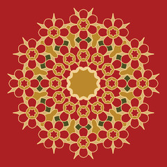 Round decorative pattern. Lace circle design template. Abstract geometric colorful background. Mandala illustration