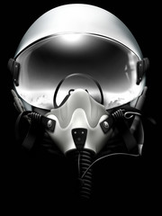 Jet fighter pilot helmet on black