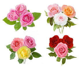Red, yellow, pink, cream and vermilion roses bunch set isolated on white background