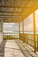 Tropical wooden terrace near caribbean sea