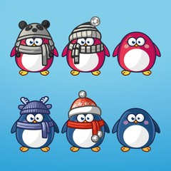 Funny cartoon pinguins with winter hats set