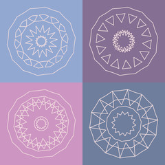 Collection of vector logo design templates and patterns. Abstract round icons. Set of creative circular symbols.