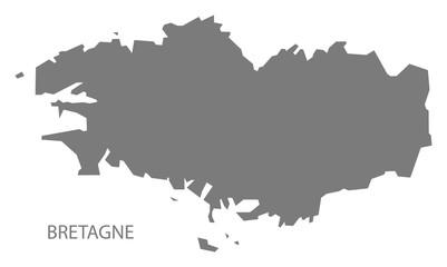 Bretagne France Map grey