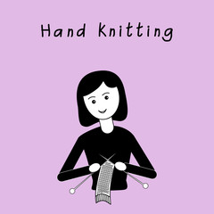 Girl are knitting hand made scarf. Black and white flat design on an lilac background. Vector illustration. It can be used for the avatar, design; printing, label, emblem.