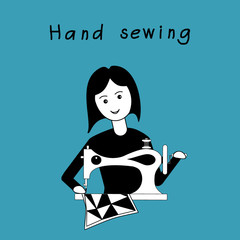 Girl sewing patchwork guil on retro sewing machine. Black and white flat design on an blue background. Vector illustration. It can be used for the avatar, design; printing, label, emblem.