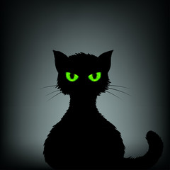 Silhouette of black cat with green eyes. Stock vector illustrati