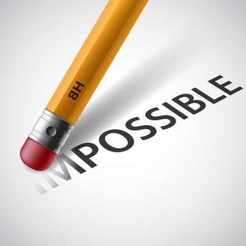 Pencil erases the word impossible. Stock vector.
