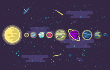 illustration of a set  all the planets  the solar system in outer space.