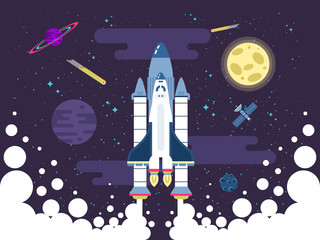 illustration of rocket flies in outer space in a flat style