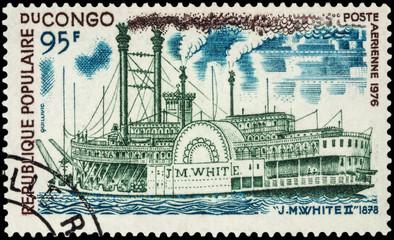 "Old paddle steamer ""J.M. White II"" (1878) on postage stamp"