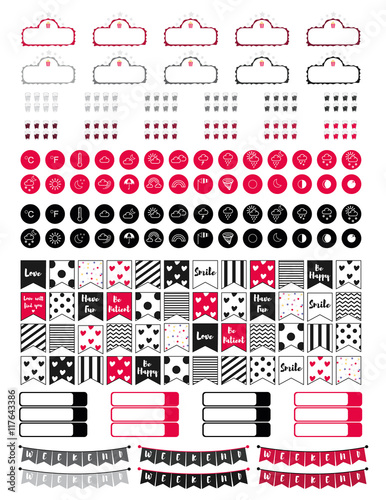 image relating to Free Printable Functional Planner Stickers referred to as Useful labels,video marquee,temperature icon,minor web page
