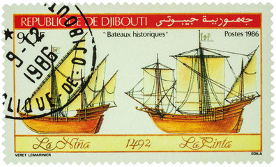 Antique sailing ships of Christopher Columbus on postage stamp