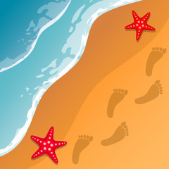 Beach background. Sea shore. The waves and sand. Sea stars. Traces of feet in the sand. Vector Image.