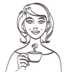 vector cute smiling woman with tea or coffee. Isolated eps 10