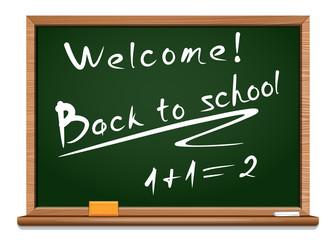 Blackboard. Chalkboard green. Back to school. Vector illustration