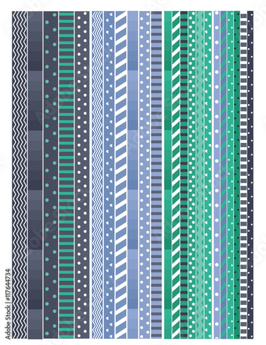 Teal blue and dark blue printable washi tape design for for Geometric washi tape designs