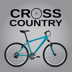 Cross-country bike. Detailed drawing. . Isolated object. Vector Image.