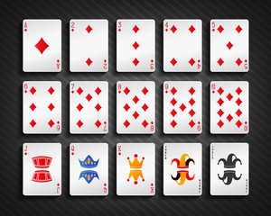 Poker cards diamond set