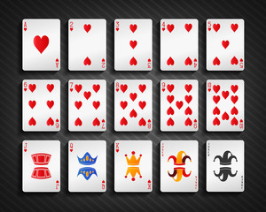 Poker cards heart set