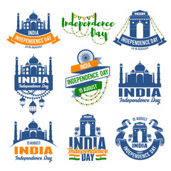 Set of emblems for indian holiday India Independence Day. Best badges set for your design. Easy for edit and use. Vector illustration.