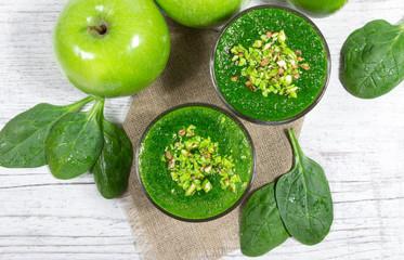 Slimming cocktail of green vegetables and fruits.
