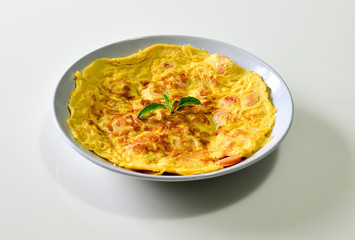 Omelet with sausage Thai style, Thai food