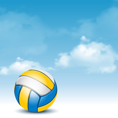 Color Volleyball Ball on Cloudy Sky Background. Realistic Vector Illustration.