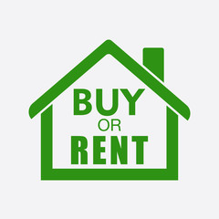 Buy or rent house. Green home symbol with the question. Vector illustration in flat style on white background.