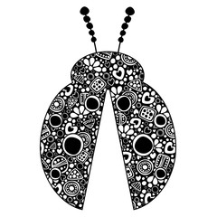 Vector decorative hand drawn insect illustration. Black and white ladybug with ornamental decorative elements with traditional motives, geometric figures, dots and flowers, isolated on the white.