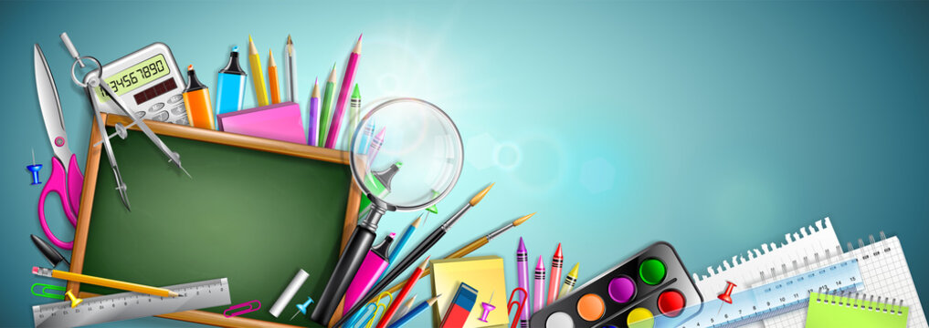 Banner Back To School With Blackboard And Supplies