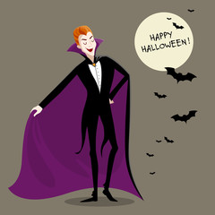 Vector Illustration of a Charming Dracula Vampire. Funny Cartoon Vampire.