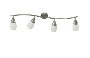 Ceiling light (or Chandelier) fixture interior isolated on white background (Four lamp). Clipping path inside