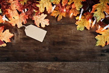 Abstract fall background of autumn leaves and decorative lights with empty tag for copy space over a rustic background of weathered barn wood. Image shot from overhead.