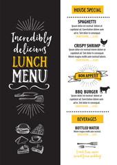 Menu cafe restaurant, template placemat. Food board design.