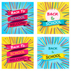 Back To School Set. Background with Colorful Pencils with Header. Welcome. Poster,Banner ,Brochure Template.Vector Illustration.