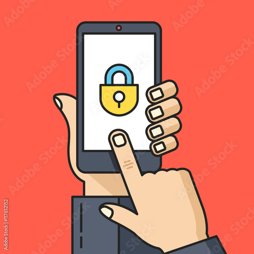 """""""Hand holding smartphone with lock icon. Unlock screen ..."""