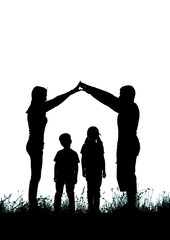 Silhouette of a happy family making the home sign