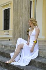 Girl in white dress. Princess