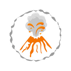 Volcano eruption. Round vector logo illustration isolated on white.