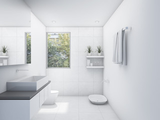 3D rendering white clean restroom with nature view